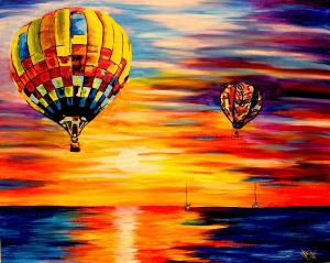 Hot air balloons in a beautiful painting with a sunset over a body of water