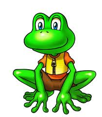 A picture of a green cartoon frog with a yellow shirt on and brown shorts, sitting in a position about ready to jump.