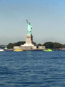 Statue of Liberty with the water surrounding it