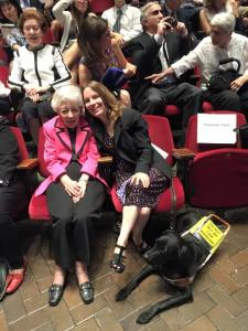 My great-aunt Betty and I with Makiko sitting down waiting for the White Coat Ceremony to start